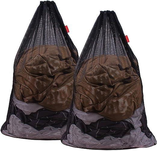 Meowoo 1 Piezas Bolsa de lavander/ía Grande con Bolsa de lavander/ía de Malla con cord/ón para Lavadora Negro