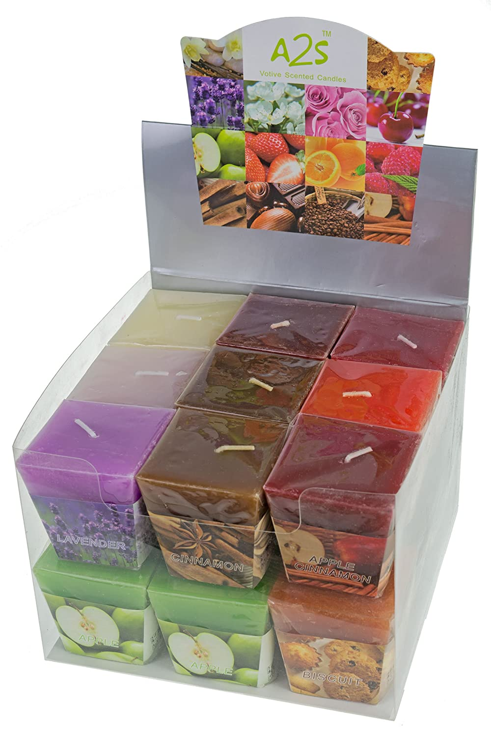 A2S All2shop Scented Votive Candles Set of 18 Assorted Pure Scents for Relaxation /& Aromatherapy 18 Assorted Scents, Normal