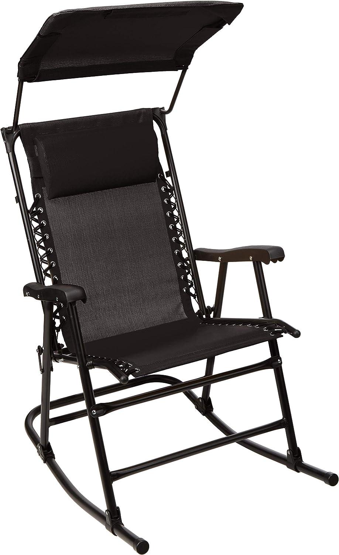 AmazonBasics Foldable Rocking Chair with Canopy - Black