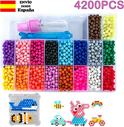 DWcouple Abalorios Cuentas de Agua 6200 Perlas Kit Abalorios Perlas en 30 Colores Diferentes Cuentas de Agua Manualidades Juguetes para Ni/ños Craft Sticky Beads Compatible para Aquabeads