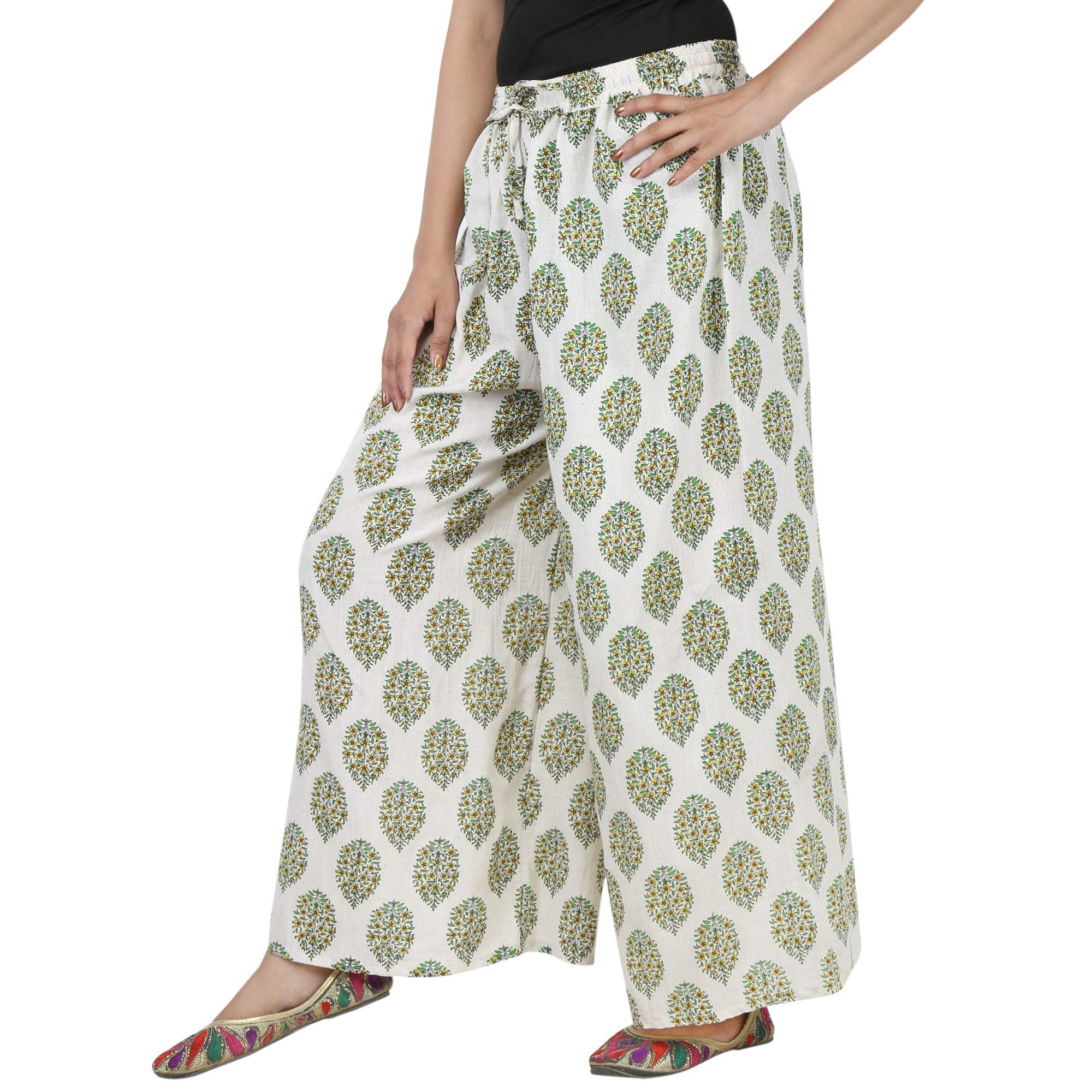 Jaipur Classic Cotton Printed Palazzo Pants Free Size for Women (White)