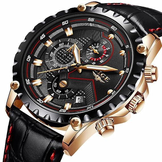 Hombre de reloj de pulsera resistente al agua Military Sport analógico reloj de pulsera Business Casual Vestido qurtz Reloj de pulsera banda de piel con ...