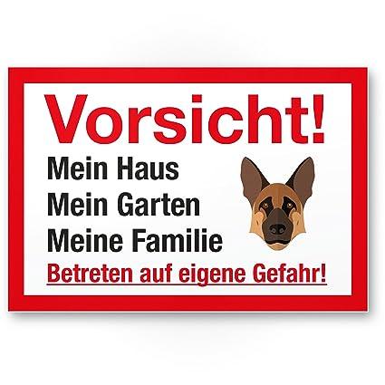 Vorsicht perro Mi Casa, Jardín, familia, Nota Cartel Razón pieza multilingües Shepherd –