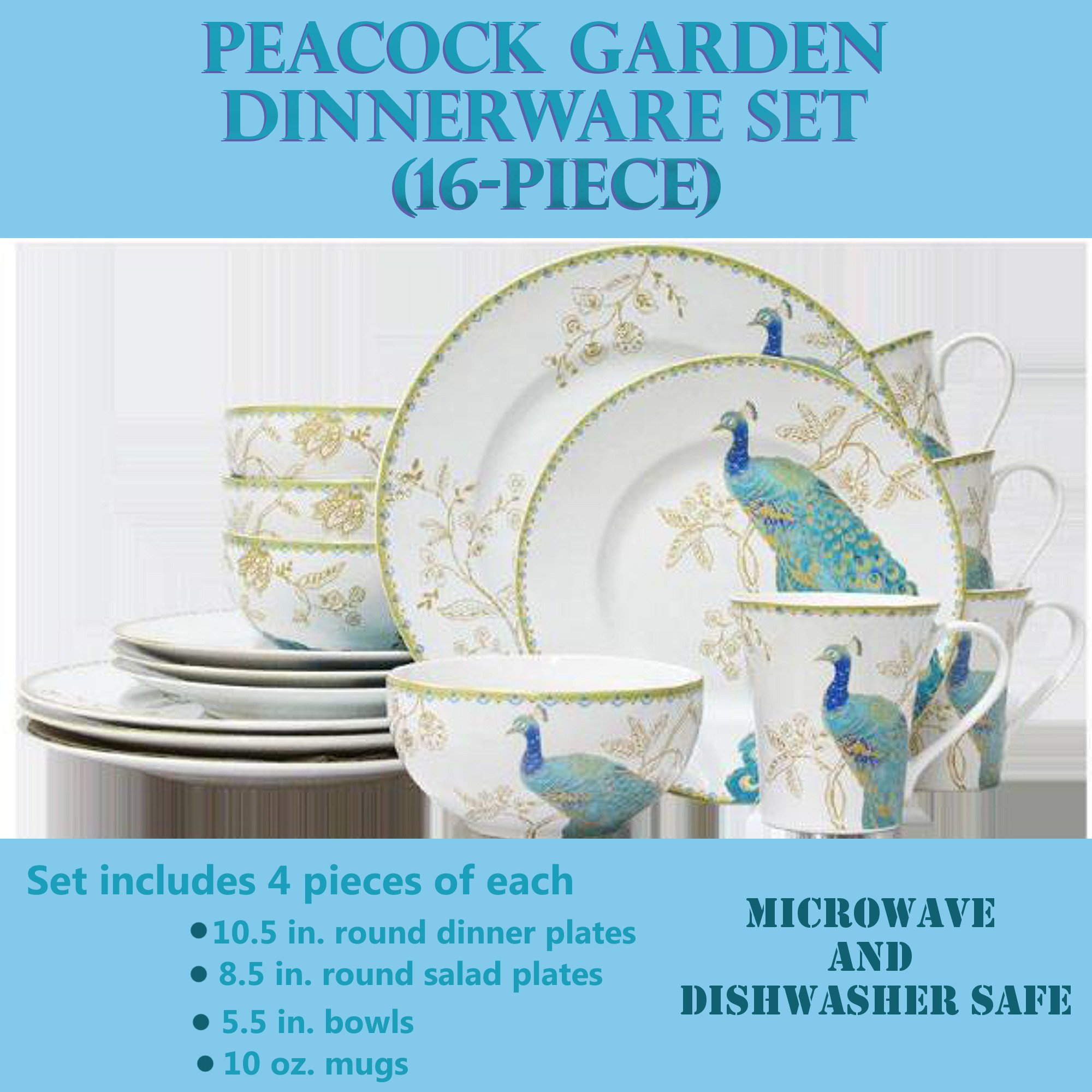 (16-Piece) Durable Porcelain Peacock Garden Dinnerware Set, Includes 4 Pieces of Each: 10.5 In. Round Dinner Plates; 8.5 In. Round Salad Plates; 5.5 In. Bowls; 10 Oz. Mugs, Perfect For Everyday Dining by 222 Fifth