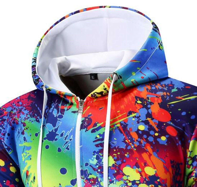 Colygamala Mens 3D Printed Rainbow Watercolor Paint Long Sleeve Full Zip Hoodie Sweatshirt Jacket Coat