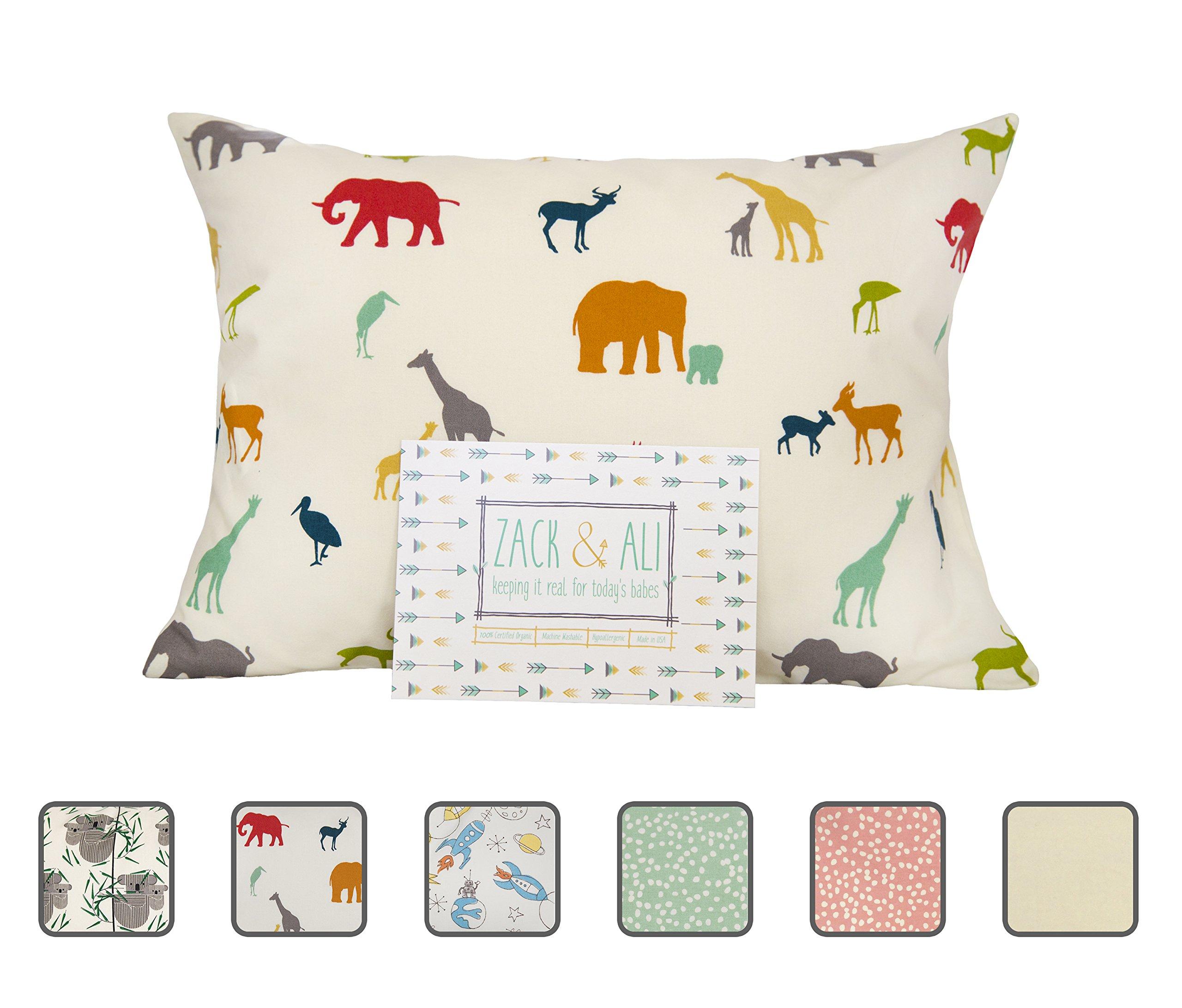 Zack & Ali 100% Organic Toddler Pillowcase (Safari), 13 X 18, Made in USA!