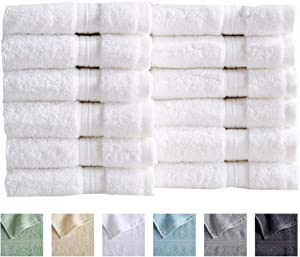 12-Pack Washcloth Set. 100% Cotton Absorbent Quick-Dry Plush Washcloth Towels. Wash Cloths for Bathrooms. Cooper Collection. (Washcloths, White)
