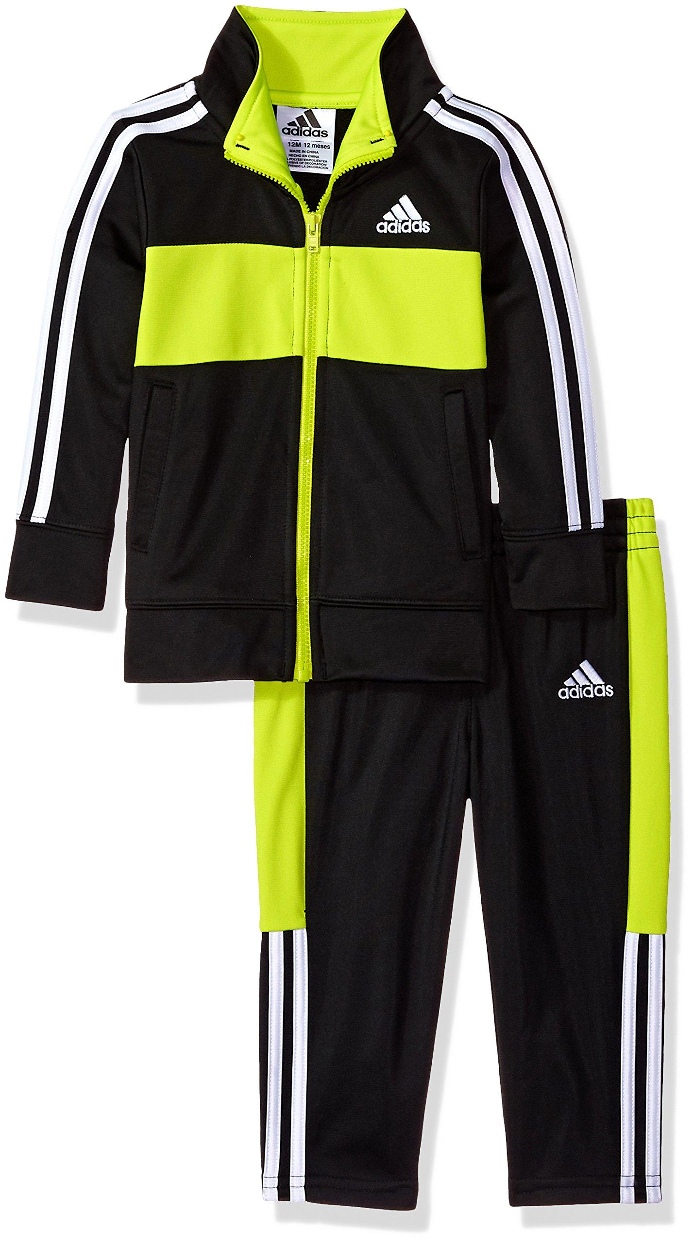 6da65a7a9 Galleon - Adidas Baby Boys Colorblock Tricot Tracksuit 2-Piece Set,  Black/Neon, 18 Months