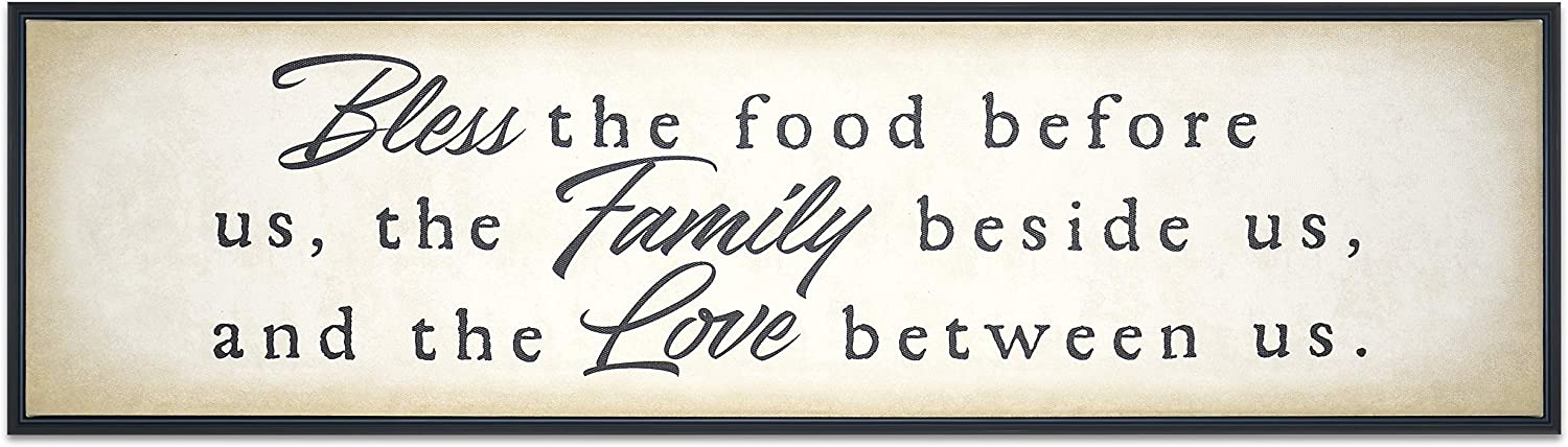 Homekor Bless Family Love Inspirational Quotes Hanging Wall Decor Sign - Bless The Food Before Us, The Family Beside Us, And The Love Between Us - Faith Motivational Sayings Framed Canvas Print 30 x 8