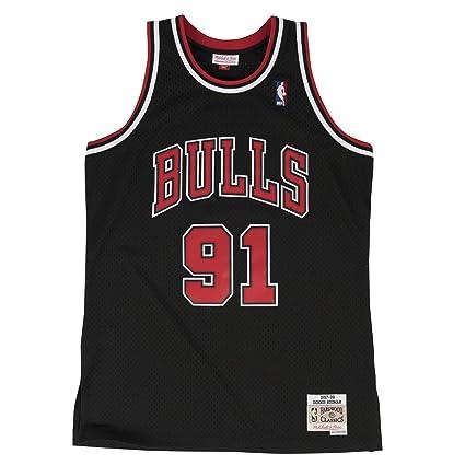 d3a1a00ff Mitchell & Ness Dennis Rodman 1997-98 Chicago Bulls Black HWC Swingman  Jersey