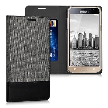 kwmobile Funda compatible con Samsung Galaxy J3 (2016) DUOS-Carcasa de {tela} y {cuero sintético} con {soporte} en {gris / negro}