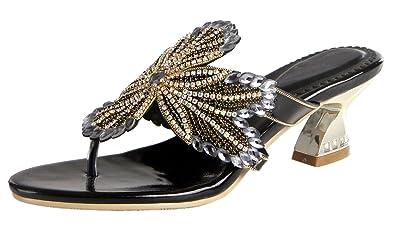 90cf621cbcbf Honeystore Women s Thong Slippers Block Heel Sandals Flower Pattern  Rhinestone Party Shoes Black 5 B(