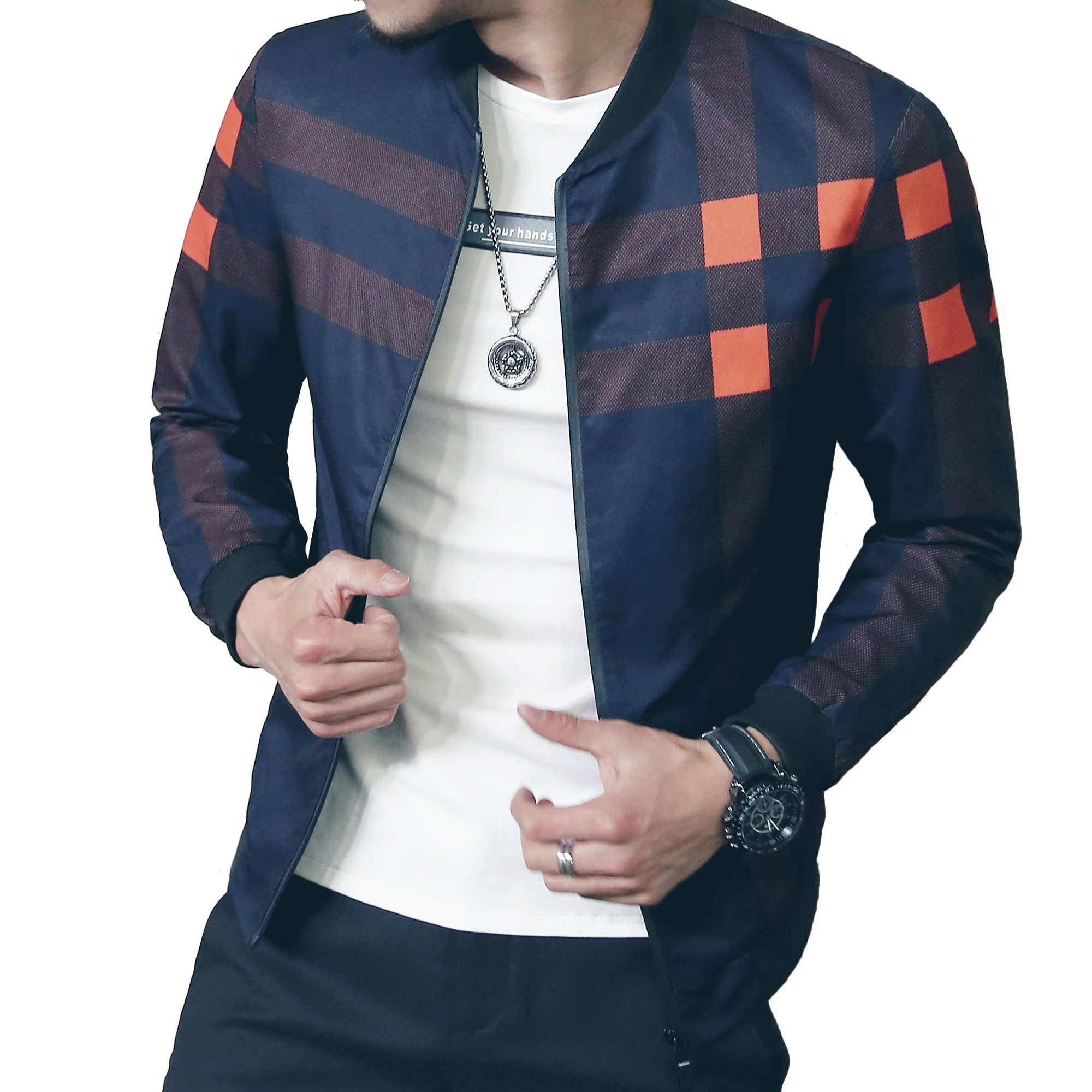 LOGEEYAR Men's Bomber Jacket Casual Slim Fit Printed Outerwear Coat(Blue orange-M)