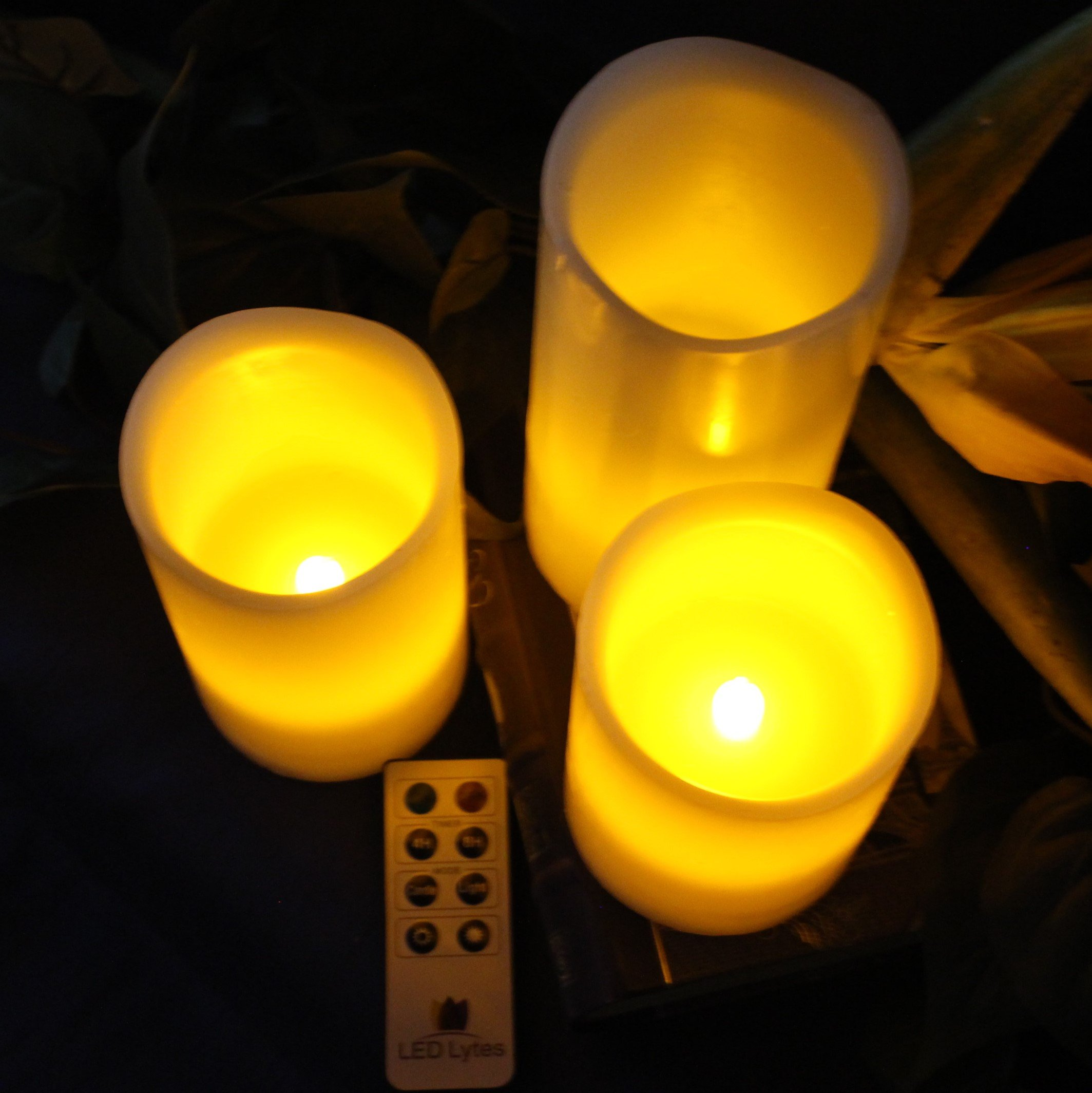 LED Lytes Flickering Flameless Candles - Set of 3 Ivory Wax Flickering Amber Yellow Flame, Auto-Off Timer Remote Control Fake Battery Operated Candles by LED Lytes (Image #4)