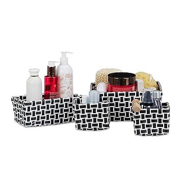 Relaxdays Aufbewahrungskörbe 4er Set Geflochten Robust Aufbewahrungsbox Für Bad Kunststoff Schrank Weiß Schwarz