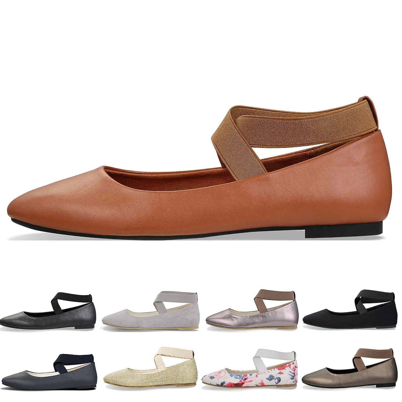 CINAK Comfortable Classic Flats Women's Shoes Black Walking Ballet Elastic Crossing Straps USACI001A