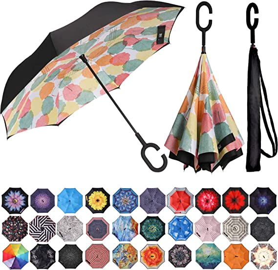 BAGAIL Double Layer Inverted Umbrella Reverse Folding Umbrellas Windproof UV Protection Big Straight Umbrella
