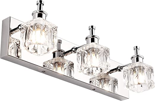 Presde Vanity Lights Bathroom Fixture Over Mirror 3 Lights Led Modern Chrome Fixtures Crystal Glass Globe Amazon Com