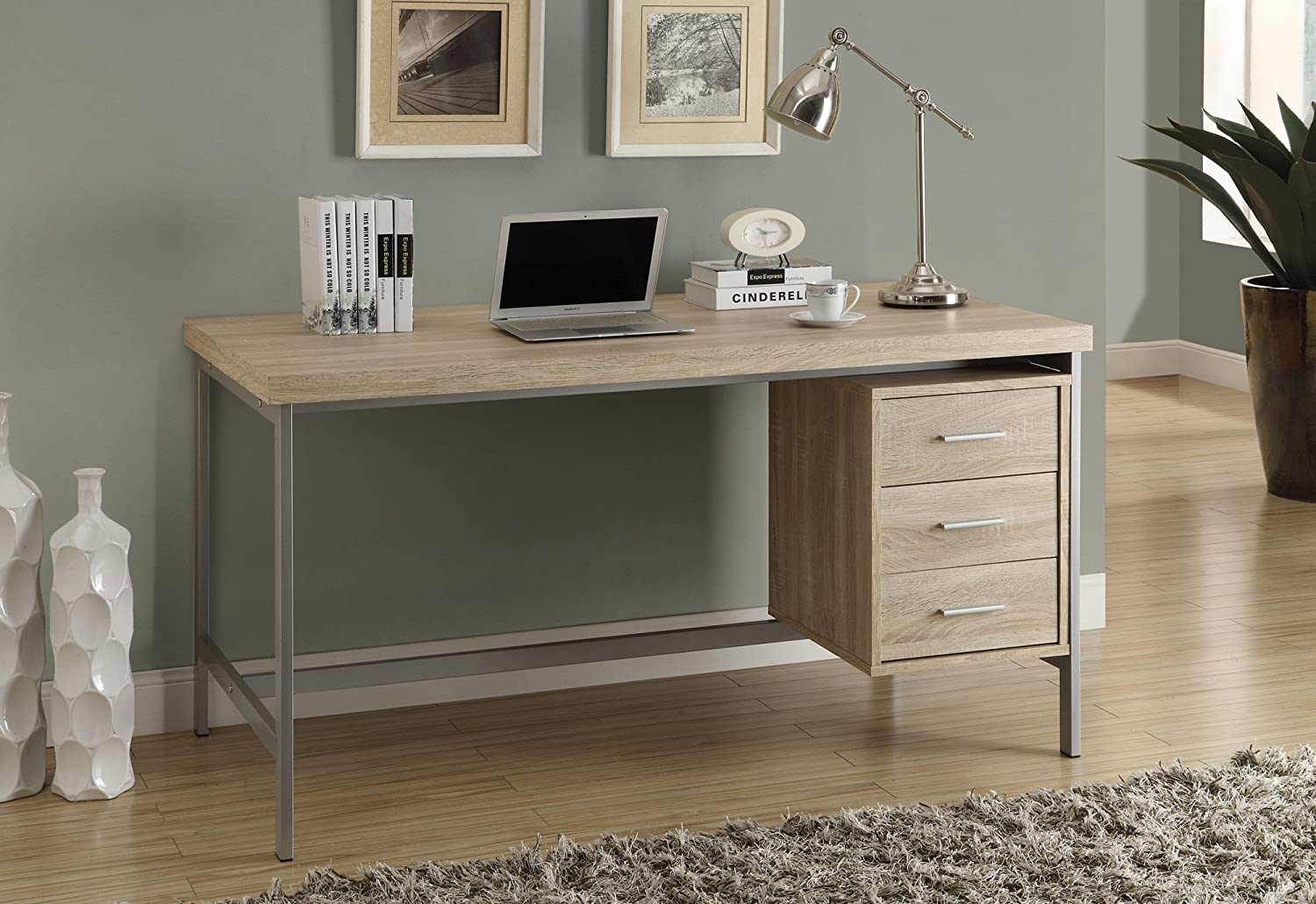 Amazon.com: Monarch Reclaimed-Look/Silver Metal Office Desk, 60 ...