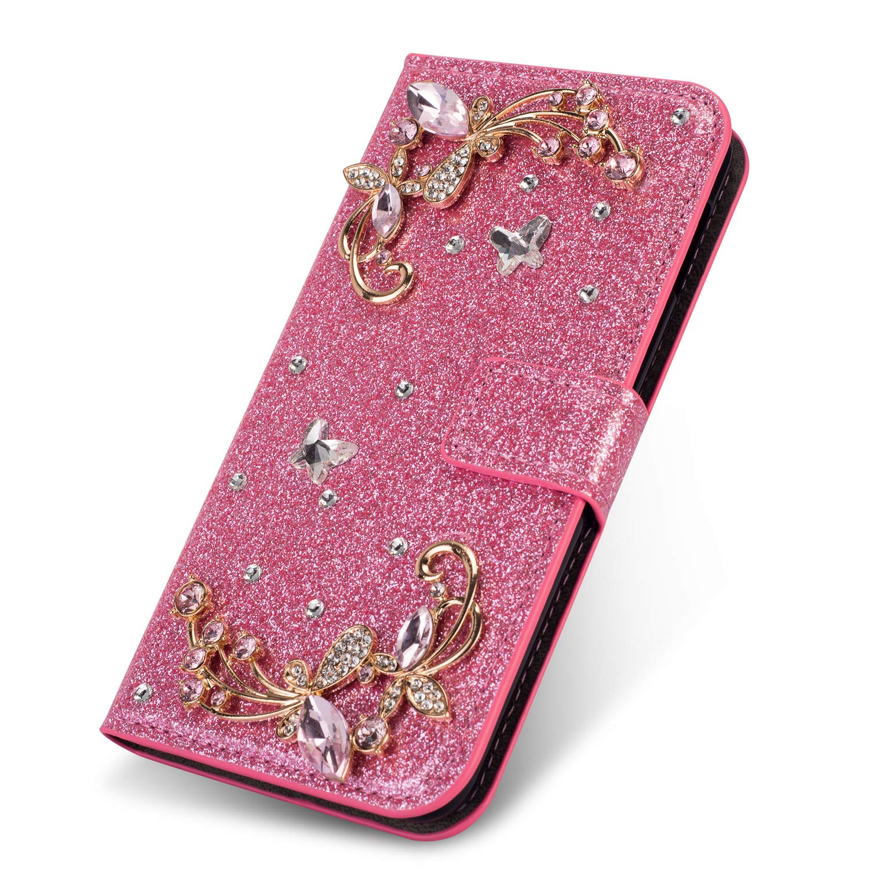 Modisch Glitzer Ledertasche f/ür Samsung A70,Bling Glitter Diamond Love Hearts Musterg Slim Retro Bookstyle Stand Funktion Karteneinschub Magnetverschluss Flip Wallet H/ülle Schutzh/ülle