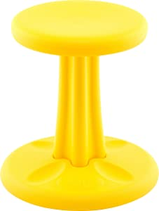 Kore Kids Wobble Chair - Flexible Seating Stool for Classroom & Elementary School, ADD/ADHD - Made in USA - Age 6-7, Grade 1-2, Yellow (14in)