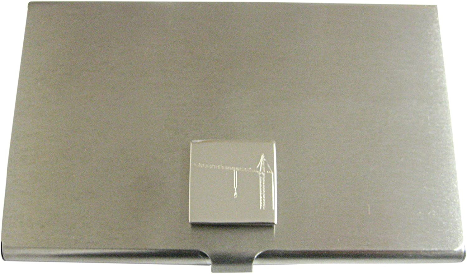 Silver Toned Etched Construction Crane Business Card Holder