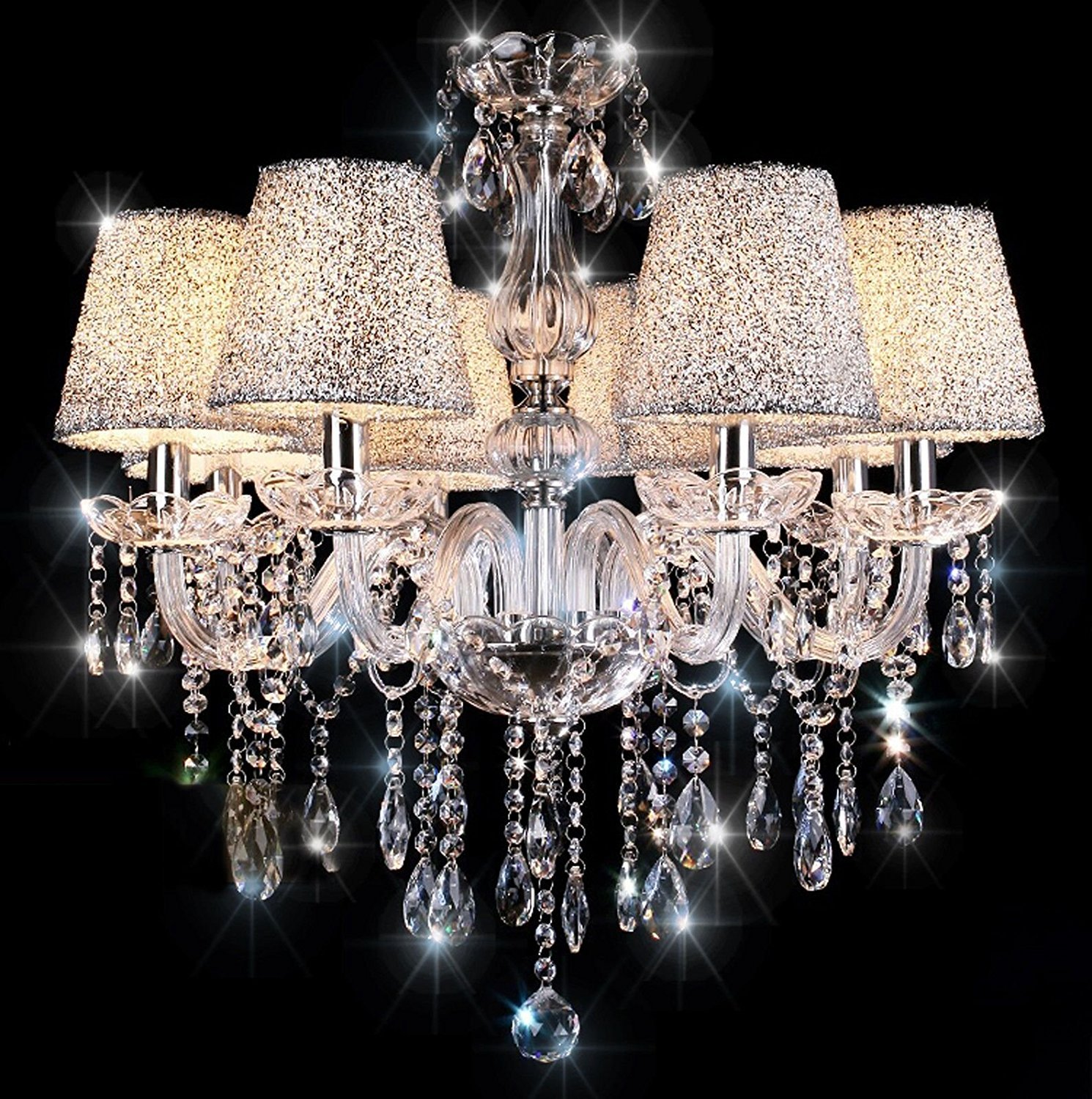 Chandeliers Ceiling Lights TOPAMAX Crystal Chandelier with 6 Silver Lampshades Ceiling Lamp TENLION
