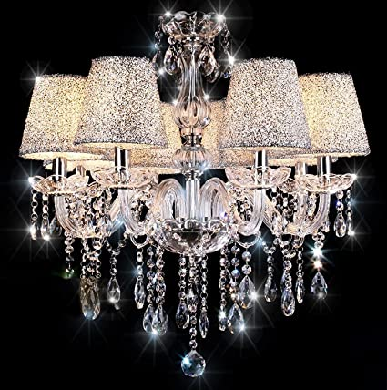 sports shoes 8d53d b903a Chandeliers Ceiling Lights TOPAMAX Crystal Chandelier with 6 Silver  Lampshades Ceiling Lamp