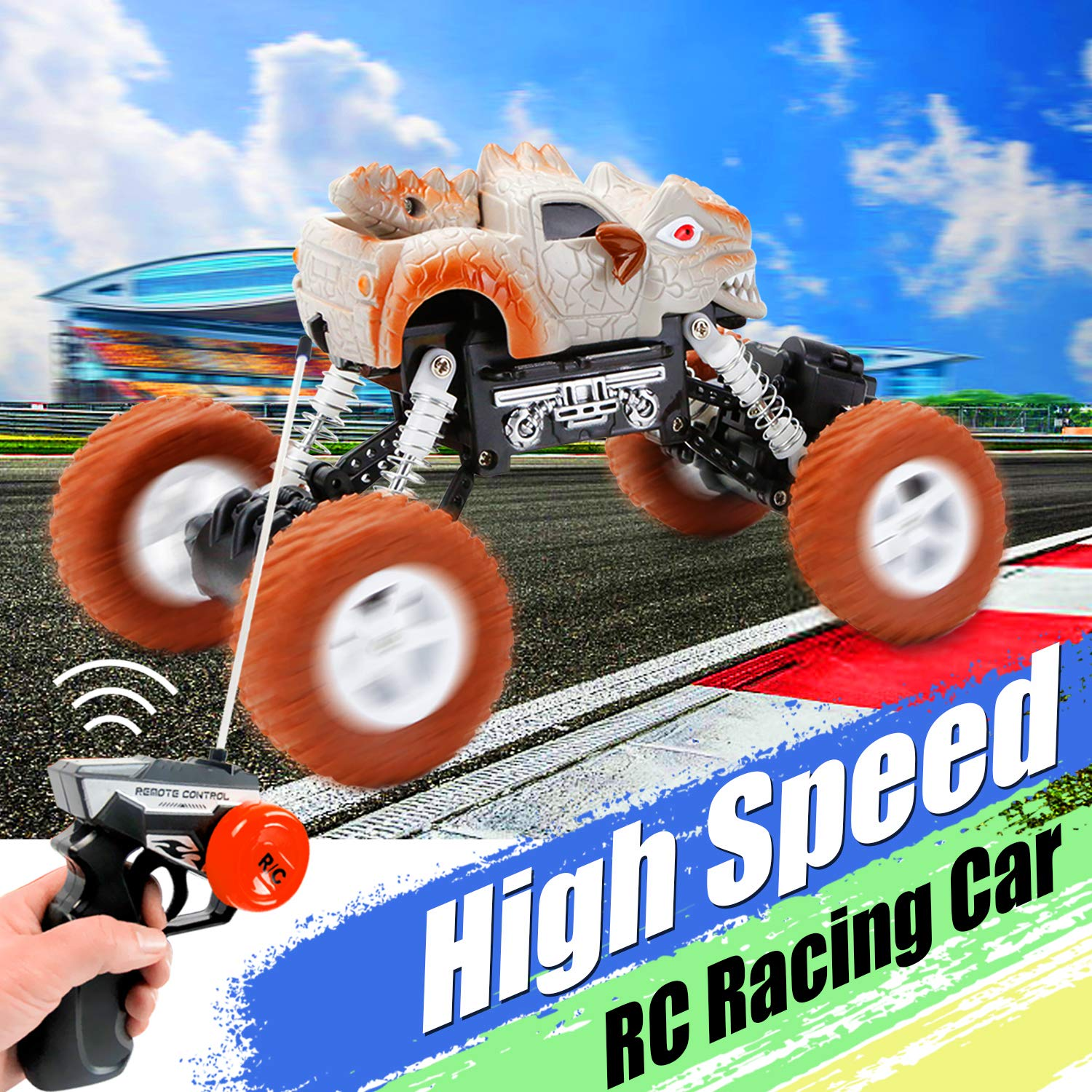 iGeeKid RC Truck for Boys Remote Control Dino Truck 1:22 Scale High Speed Shockproof RC Cars 4WD Racing RC Vehicle Toy Cars for Kids Boys /& Girls Birthday Holiday Xmas Gift