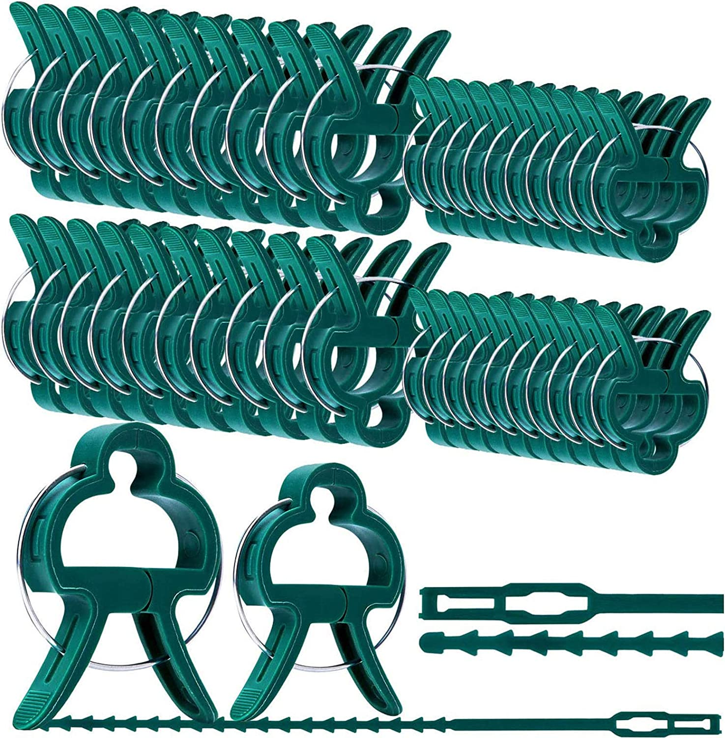 YGAOHF Plant Support Clips, 60 PCS Adjusting Gardening Spring Clips Plant & Flower Lever Loop Gripper Clips Tool for Supporting or Straightening Plant Stems, Stalks, and Vines (3 Style)