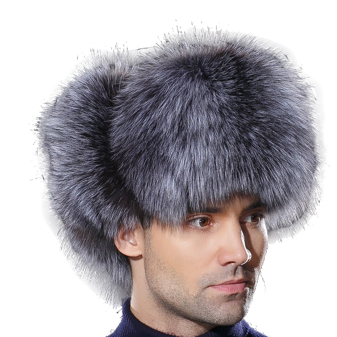 URSFUR Winter Mens Russian Ushanka Hat Real Leather & Silver Fox Fur Trapper Cap
