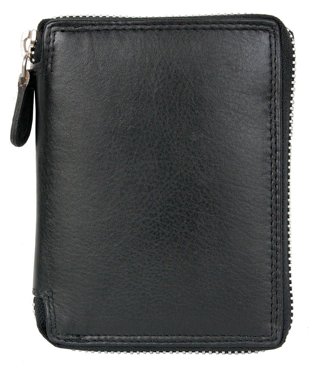 Portafoglio nero in metallo nero con zip-around con RFID