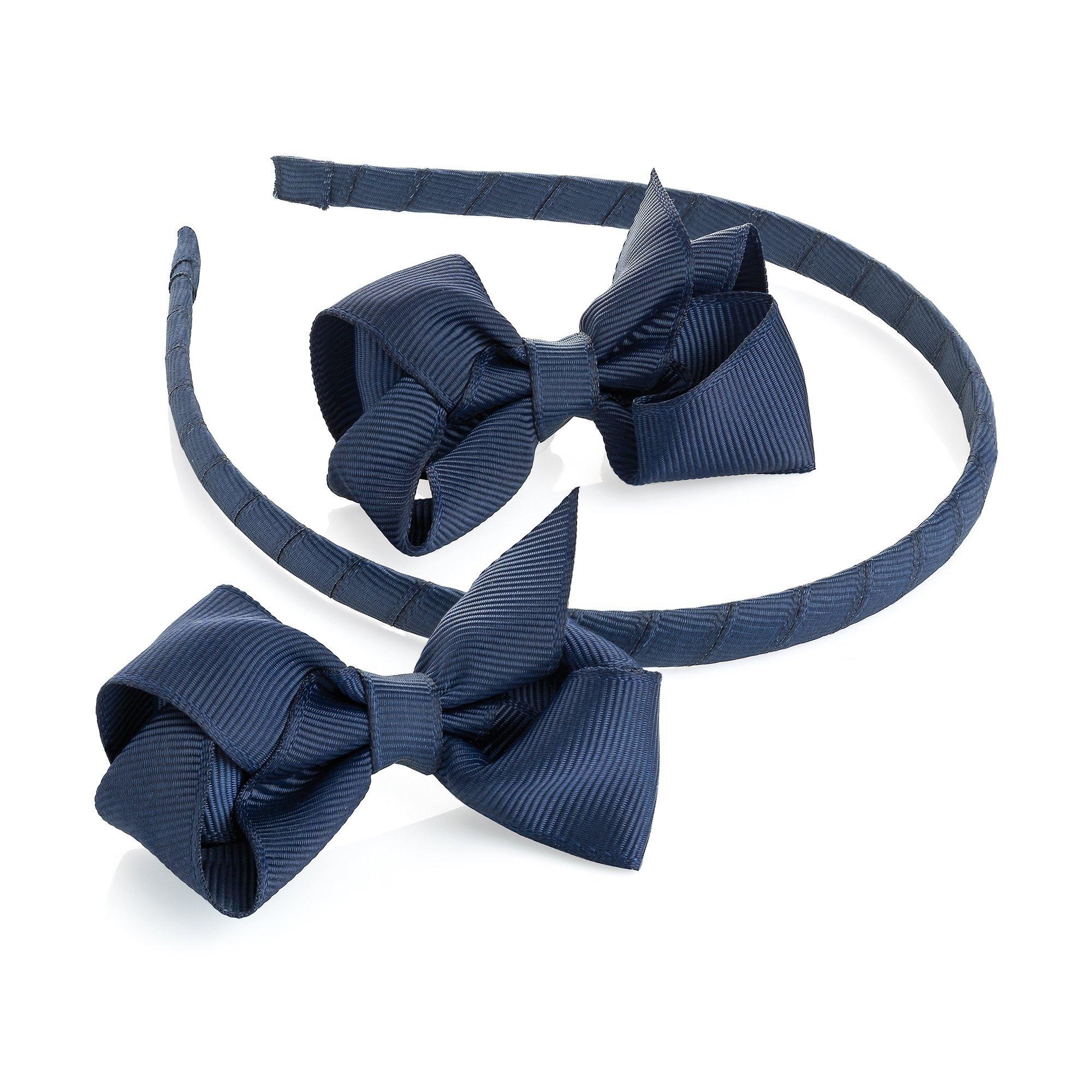 Navy Blue Bow Headband /& Navy Blue Headband Satin Ribbon Covered 2 pc Set