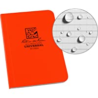 "Rite in the Rain Weatherproof Soft Cover Pocket Notebook, 3.5"" x 5"", Orange Cover, Universal Pattern (No. OR54)"