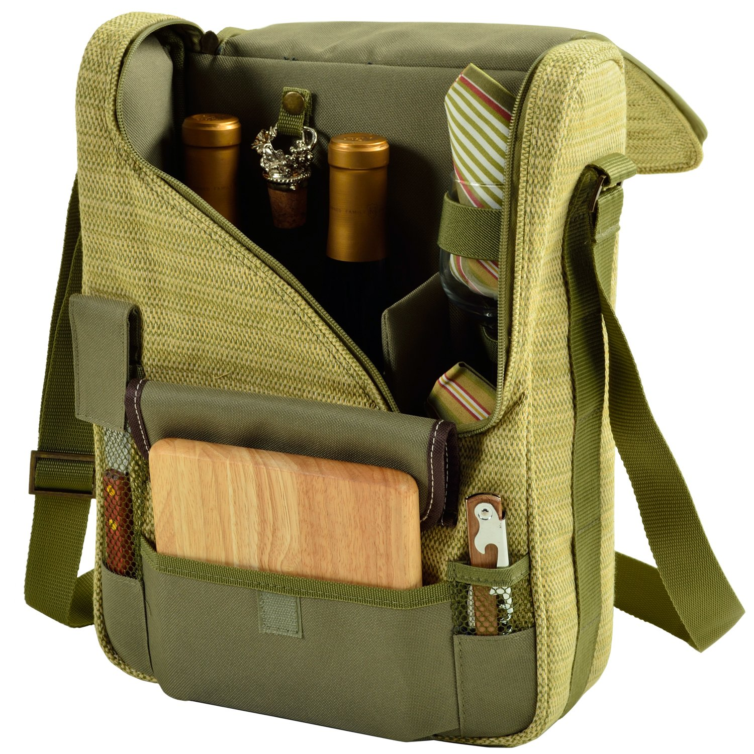 Picnic at Ascot - Wine Carrier Deluxe with Glass Wine Glasses and Accessories for Two, Olive Tweed