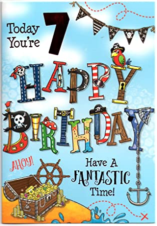 Birthday Card For Seven 7 Year Old Boy Free 1st Cl Post