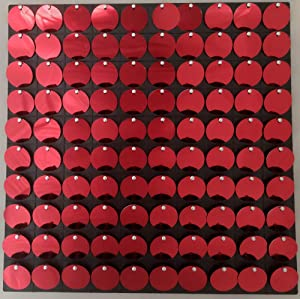 """FlavorThings Shimmer Sequin Sparkle Wall Panel 12"""" x 12"""" Metallic Red Active Spangle Wall Art Decor, Create Backdrops for Photos, Parties, Events, Marketing Venues and Conferences (6 Panels, Red)"""