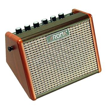 Aroma 15W Amplificador de guitarra eléctrica acústica portátil, Mini amplificador de altavoz de guitarra Bluetooth con batería incorporada e interfaz de ...