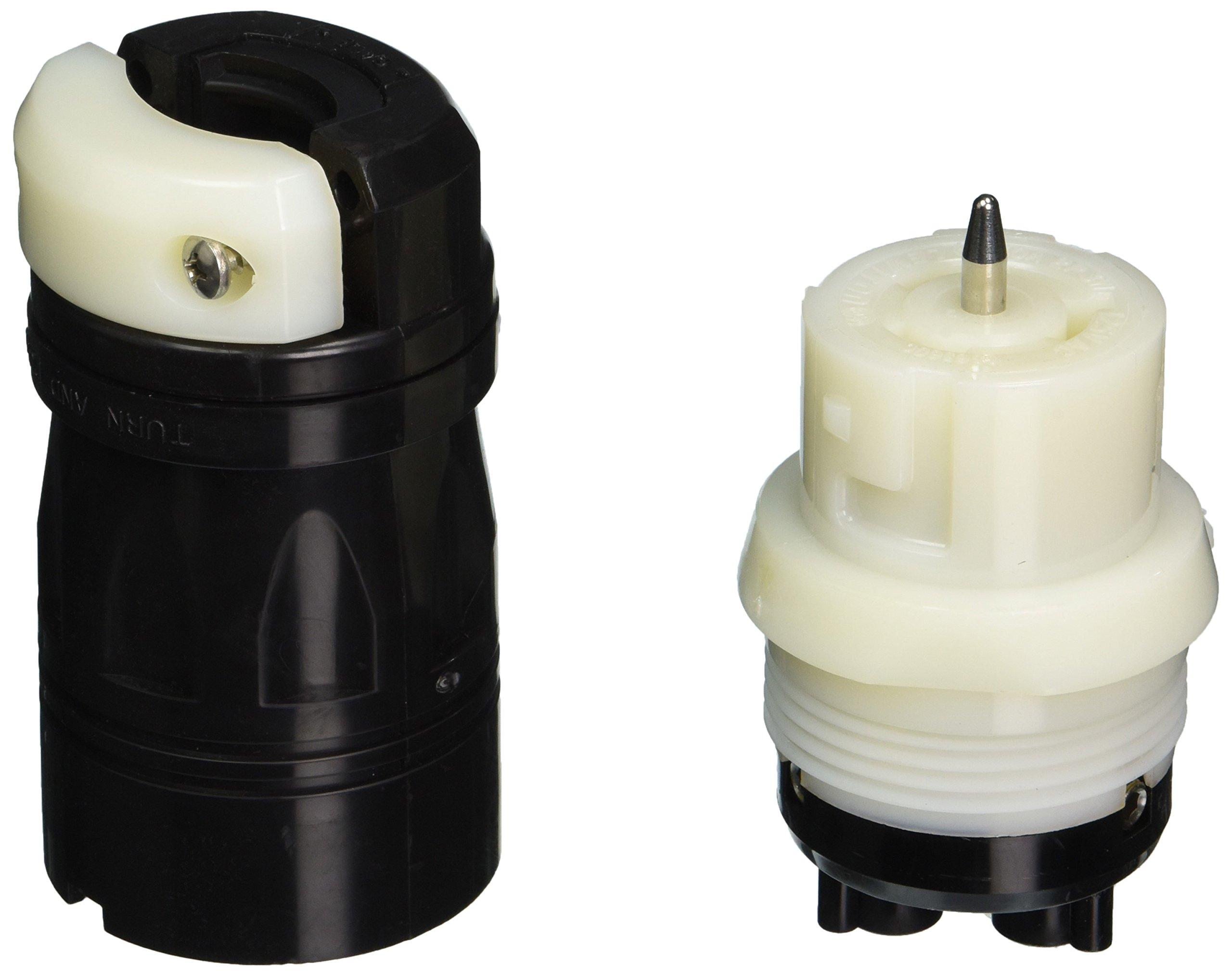 Leviton CS6360C 50-Amp, 125V AC, Non-NEMA, 2P, 3W, Black and White Locking Connector, Industrial Grade, Grounding, California-Style-CS, Black