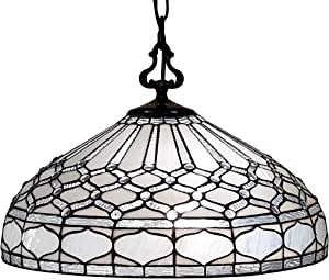 """Amora Lighting Tiffany Style Hanging Pendant Lamp 18"""" Wide Stained Glass White Mahogany Antique Vintage Light Decor Restaurant Game Living Dining Room Kitchen Gift AM221HL18B"""