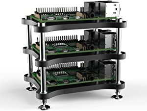 anidees Aluminum 3 Layers Open Frame case for Raspberry Pi 4 Model B/ASUS Tinker/Google Coral Dev Board, Support Seeed ICE Tower CPU Cooling Fan/HiFiBerry (Pi4, DAC NOT Included) Black(AI-OP-FR3)