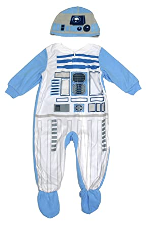 Star Wars Baby Toddler Boy R2-D2 Robot Droid Footed Blanket Sleeper with Cap (