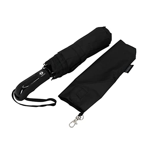 Ergonomad Windproof Vented Double Canopy Travel Umbrella – Teflon Coating, Ergonomic Handle & Protective Travel Sleeve – Portable Compact Foldable Lightweight Design and High Wind Resistance