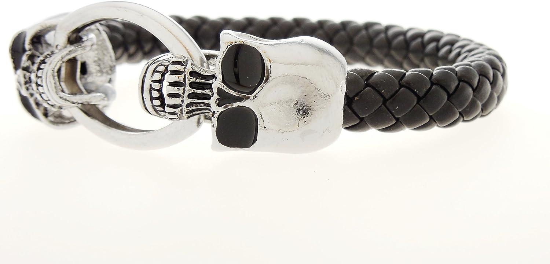 Double Skull Black Leather and Silver tone Cuff Bracelet Bracelet Rickis Silver Skulls