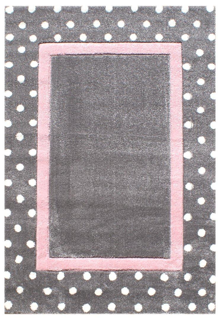 Livone Kinderteppich Happy Rugs Point Silbergrau rosa 160x230 cm