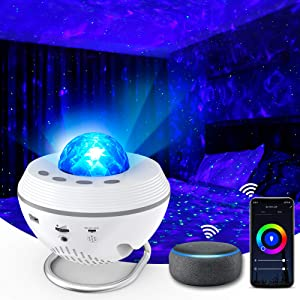 Star Projector, 10 Colors WiFi Galaxy Light Projector for Bedroom Working with Smart App & Alexa, Starry Light Projector with Remote & Bluetooth, Ocean Wave Projector Lights for Bedroom Kids, Adults