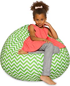 Big Comfy Bean Bag Chair: Posh Large Beanbag Chairs with Removable Cover for Kids, Teens and Adults - Polyester Cloth Puff Sack Lounger Furniture for All Ages - 27 Inch - Chevron Green and White