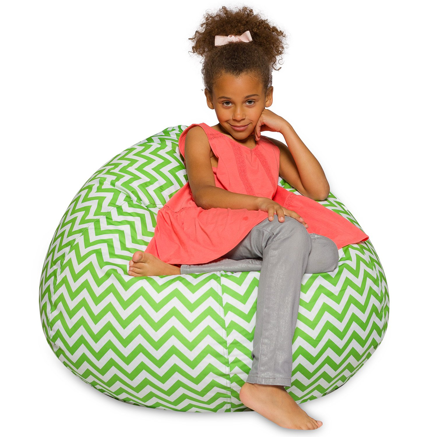Big Comfy Bean Bag Chair: Posh Large Beanbag Chairs for Kids, Teens and Adults - Polyester Cloth Puff Sack Lounger Furniture for All Ages - 27 Inch - Chevron Green and White by Posh Beanbags (Image #1)