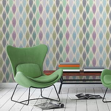 Moderne Designer Tapete Regenbogen Waben Mit Bunten Farben Grun