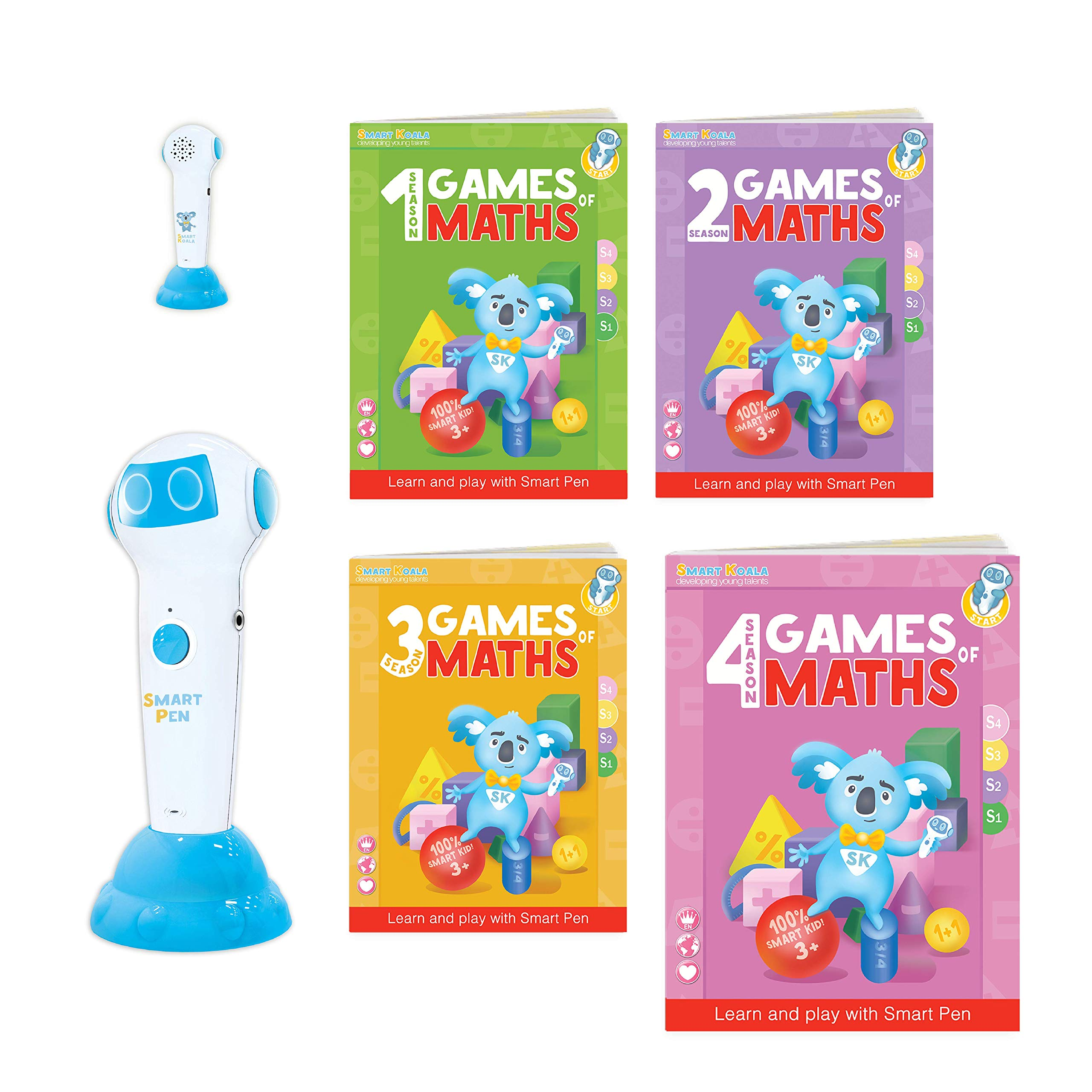 Talking Pen + 4 Books Games of Math (Super Bundle). The Most Entertaining Way to Learn Math! The Pen Supports English and Other International Languages. Fun Games and Tasks Inside! by Smart Koala (Image #1)